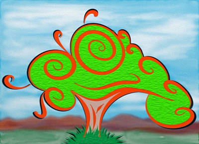 Whimsical Tree On Blurred Landscape Art Print by Gina Lee Manley