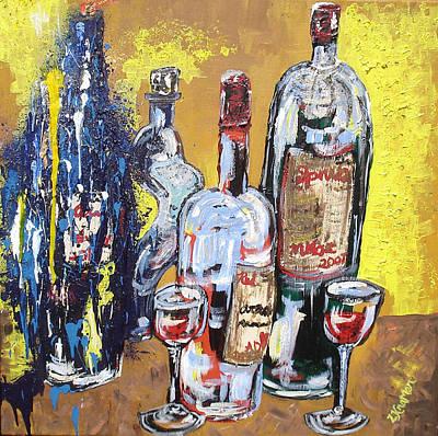 Mixed Media - Whimsical Wine Bottles by Lisa Kramer