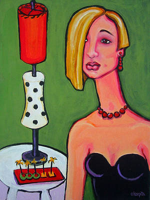 Painting - Whimsical Woman Little Black Dress - Mid Century Lamp by Rebecca Korpita