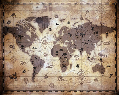 Old World Mixed Media - Whimsical World Map 1 by Angelina Vick