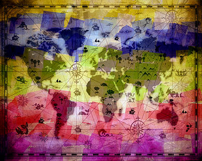 Flypaper Textures Mixed Media - Whimsical World Map 2 by Angelina Vick
