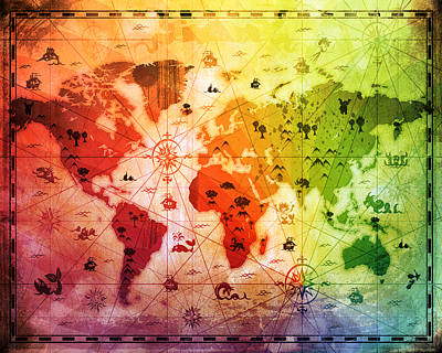 Flypaper Textures Mixed Media - Whimsical World Map 4 by Angelina Vick