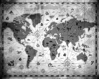 Flypaper Textures Mixed Media - Whimsical World Map Bw by Angelina Vick