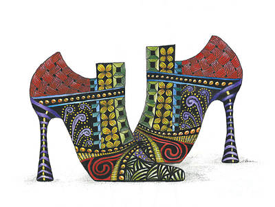 Painting - Whimsically Painted Shoes by Nan Wright