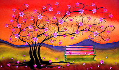 Art Print featuring the digital art Whimsy Cherry Blossom Tree-1 by Nina Bradica