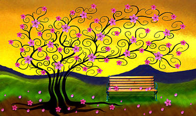 Art Print featuring the digital art Whimsy Cherry Blossom Tree-2 by Nina Bradica