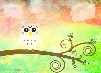 Whimsy Owl Kids Art Art Print by Sacred  Muse
