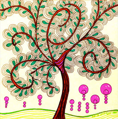 Abstract Shapes Drawing - Whimsy Tree by Anita Lewis