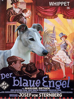 Painting - Whippet Art - Der Blaue Engel Movie Poster by Sandra Sij