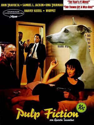 Whippet Painting - Whippet Art - Pulp Fiction Movie Poster by Sandra Sij