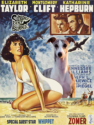 Painting - Whippet Art - Suddenly Last Summer Movie Poster by Sandra Sij