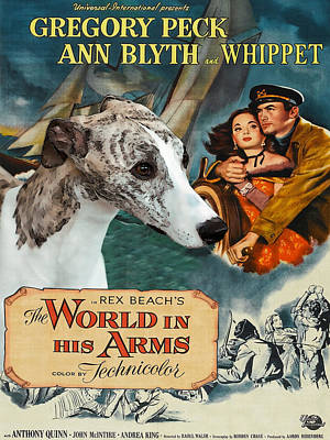 Painting - Whippet Art - The World In His Arms Movie Poster by Sandra Sij