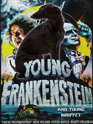 Painting - Whippet Art Canvas Print - Young Frankenstein Movie Poster by Sandra Sij