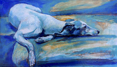 Whippet Painting - Whippet-effects Of Gravity-6 by Derrick Higgins