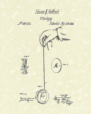 Yoyos Drawing - Whirligig 1867 Patent Art by Prior Art Design