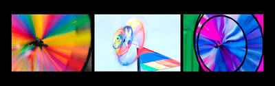 Photograph - Whirligig Tryptych Black Background by David Smith