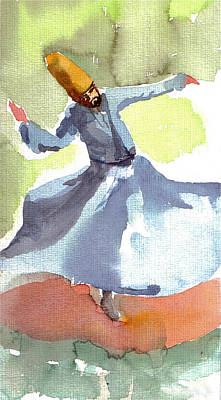 Art Print featuring the painting Whirling Dervish by Faruk Koksal