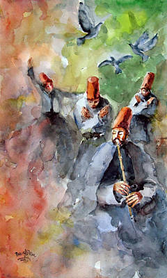 Art Print featuring the painting Whirling Dervishes And Pigeons         by Faruk Koksal