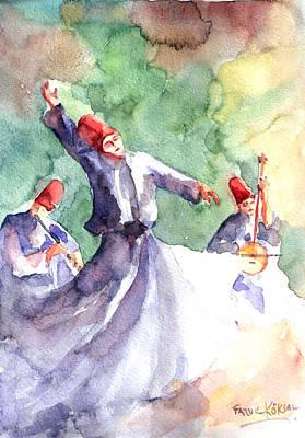 Whirling Dervishes Art Print by Faruk Koksal