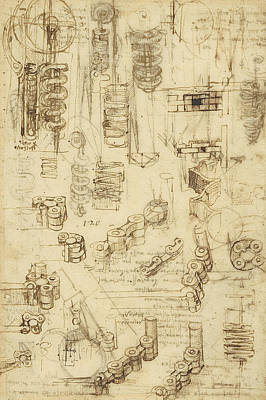 Plans Drawing - Whirling Rotation And Helicoidal Chains And Springs For Mechanical Devices by Leonardo Da Vinci