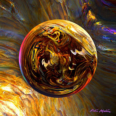 Round Digital Art - Whirling Wood  by Robin Moline
