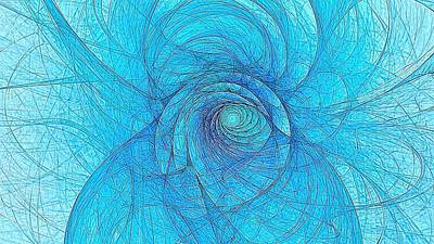 Digital Art - Whirlpool Electric Blue 16x9 by Doug Morgan