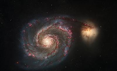 Whirlpool Galaxy M51 Art Print by Celestial Images