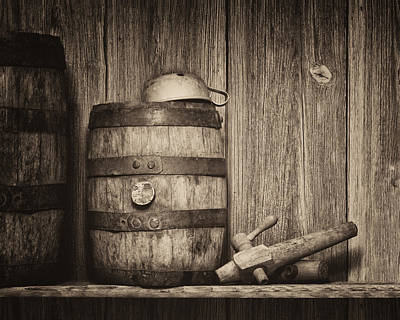 Whiskey Barrel Still Life Print by Tom Mc Nemar