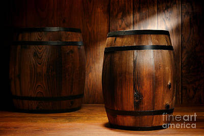 Whisky Barrel Art Print by Olivier Le Queinec