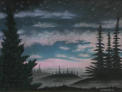 Pastel - Whispering Pines 02 by Michael Heikkinen