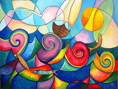 Qatar Painting - Whispering Sea by Amani Al Hajeri