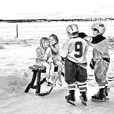 Kids Playing Hockey Digital Art - Whispers On The Backyard Rink by Elizabeth Urlacher