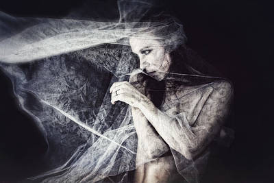 Self-portrait Mixed Media - Whispers by Spokenin RED