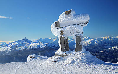 Blackcomb Photograph - Whistler Mountain Inukshuk by Pierre Leclerc Photography