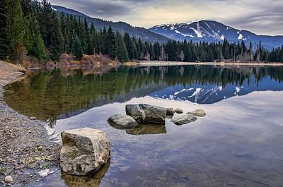 Mountain Reflection Lake Summit Mirror Photograph - Whistler Mountain Reflection by James Wheeler