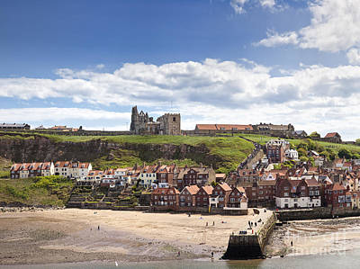Whitby Abbey And Church Above The Harbour Entrance Whitby North Yorkshire England Uk  Print by Jon Boyes
