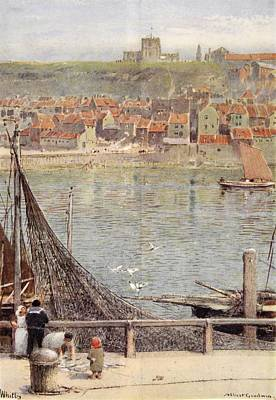 Yorkshire Drawing - Whitby by Albert Goodwin