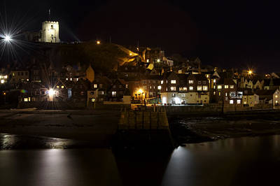 Ocean Photograph - Whitby East Cliff By Night by Rod Johnson