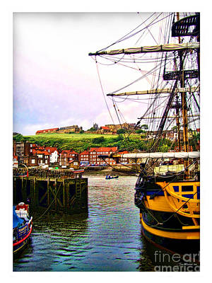 Whitby Harbor North Yorkshire Print by Joan  Minchak