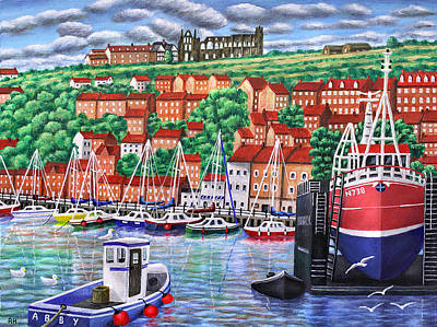 Boat House Painting - Whitby Harbour by Ronald Haber