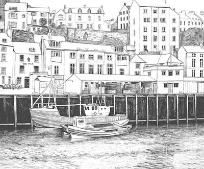 Whitby Harbour Art Print by Shirley Miller