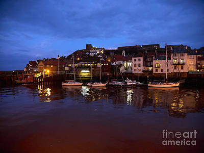 Sailing Photograph - Whitby Lower Harbour At Night by Louise Heusinkveld