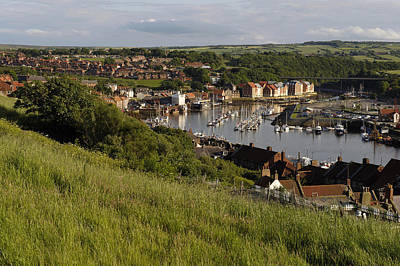 Whitby Town & Harbour, North Yorkshire Art Print by Tips Images