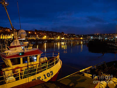 Whitby Upper Harbour At Night Print by Louise Heusinkveld