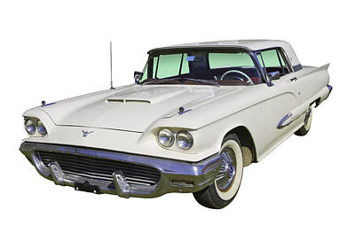 Photograph - White 1958  Ford Thunderbird Classic Car by Keith Webber Jr