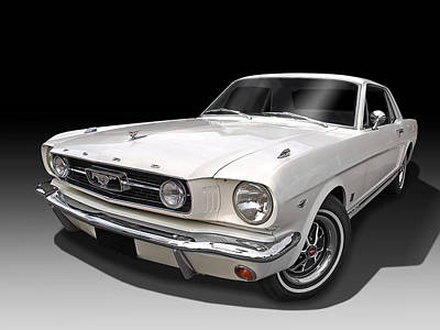 Ford Mustang Photograph - White 1966 Mustang by Gill Billington