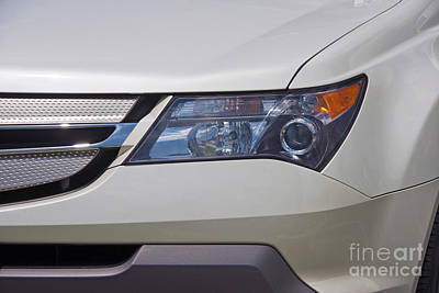 Photograph - White Acura Headlight Close Up by David Zanzinger