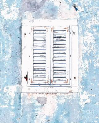 White And Blue Window Art Print