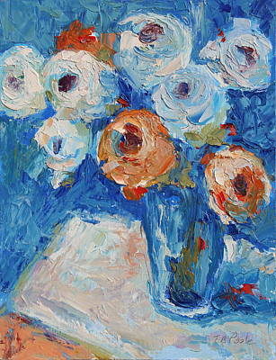 White And Orange Roses In A Sea Of Blue Art Print