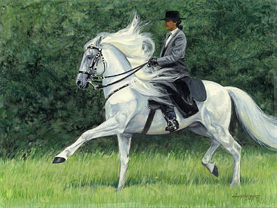 White Andalusia Flowing Mane Art Print by Don  Langeneckert